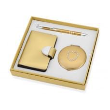 Набор Чувства: шариковая ручка, зеркало, визитница, золотистый