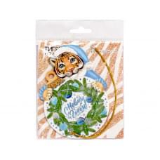 Новогоднее подвесное украшение  Тигр на удачу из картона с предсказанием под скретч слоем / 7,3x10,4x0,2см