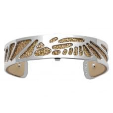 Браслет-бэнгл из латуни с гальваническим покрытием белым родием и серебром, 14мм