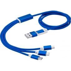 Универсальный зарядный кабель 3-в-1 с двойным входом, синий