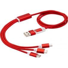 Универсальный зарядный кабель 3-в-1 с двойным входом, красный