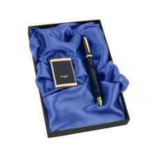 Набор: ручка-зажигалка, пепельница Акра, черный/золотистый