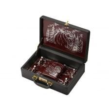 Набор Подарочный, бордовый/коричневый, серебристый