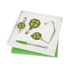Набор Дамское счастье: шариковая ручка, крючок для ключей, складной крючок для сумки с карабином и шильдом, крючок для сумки в виде листочков клевера с четырьмя лепестками