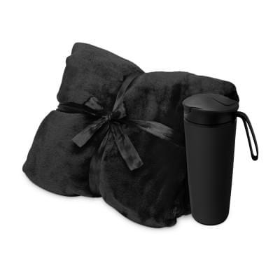 Купить Подарочный набор с пледом, термокружкой Dreamy hygge, черный за 1803р. Доставка по всей стране