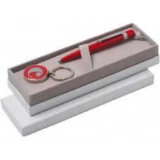 Набор Cacharel: шариковая ручка, брелок с флеш-картой USB 2. на 4 Гб, красный/серебристый